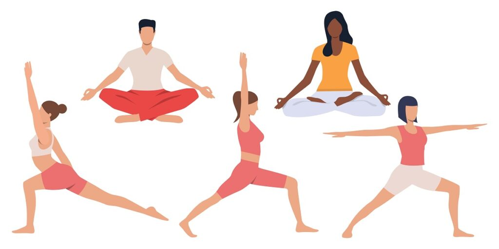 Set of people practicing yoga. Calm young people meditating and doing balance exercises. Vector illustration can be used for tranquility, brochure, spirituality